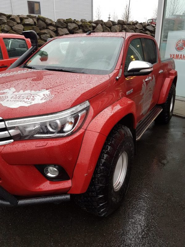 Picture of Red Hilux in Iceland